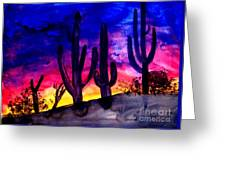 Sunset On Cactus Greeting Card