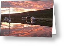 Sunset On Caledonian Canal Greeting Card