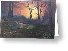 Sunset On Cannock Chase  Greeting Card