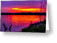 Sunset On Crab Orchard Greeting Card