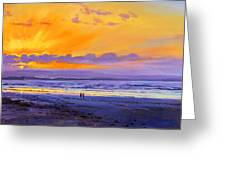 Sunset On Enniscrone Beach County Sligo Greeting Card