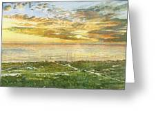 Sunset On Hobie Cat Beach, Siesta Key, Access 8 Greeting Card
