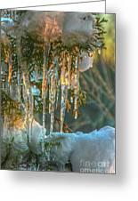 Sunset On Ice Greeting Card