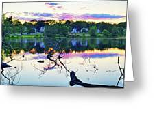 Sunset On Kenoza Lake Haverhill Ma Reflection Greeting Card