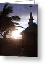 Sunset On Kona Church  Greeting Card