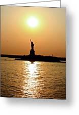 Sunset On Lady Liberty Greeting Card