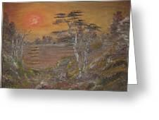 Sunset On Lake Greeting Card