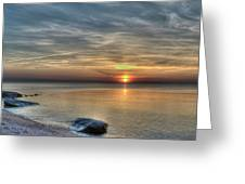 Sunset On Long Island Sound Greeting Card