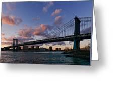 Sunset On Manhattan Bridge Greeting Card by Dick Wood