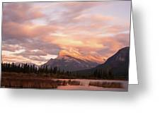 Sunset On Mount Rundle Greeting Card