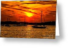 Sunset On Muskegon Lake Greeting Card