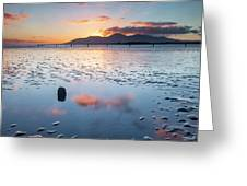 Sunset On New Year's Day Tyrella Beach Greeting Card