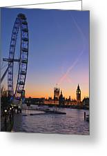 Sunset On River Thames Greeting Card by Jasna Buncic