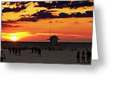 Sunset On The Clearwater Beach Greeting Card