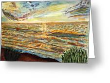 Sunset On The Great Sea. Greeting Card