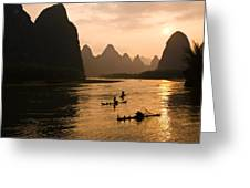 Sunset On The Li River Greeting Card