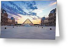 Sunset On The Louvre Greeting Card