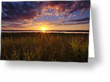Sunset On The Marsh Greeting Card by Joseph Rossbach