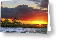 Sunset On The North Shore Of Oahu Greeting Card