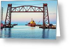 Sunset On The Port Of Chicago Waterfront Greeting Card