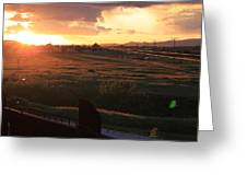 Sunset On The Railroad Track Greeting Card