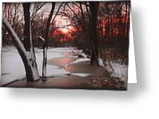 Sunset On The Red Cedar Greeting Card