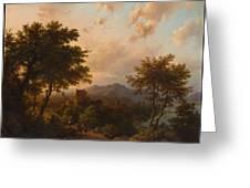 Sunset On The Rhine , Barend Cornelis Koekkoek Greeting Card