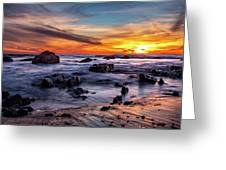 Sunset On The Rocks Greeting Card by Jason Roberts