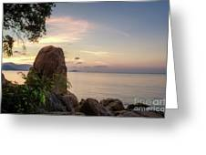 Sunset On The Rocks Greeting Card