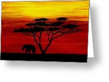 Sunset On The Serengeti Greeting Card