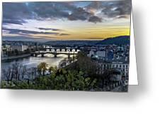 Sunset On The Vltava Greeting Card