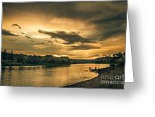 Sunset On The Willamette River Greeting Card