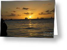 Sunset On Two Masts  Greeting Card