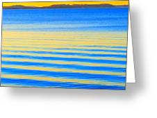 Sunset On Waves Greeting Card