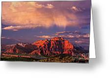 Sunset On West Temple Zion National Park Greeting Card