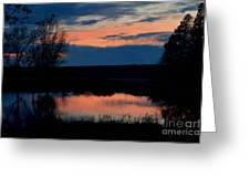 Sunset On Willow Pond Greeting Card