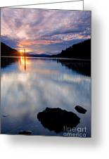 Sunset On Wolf Lodge Bay Greeting Card