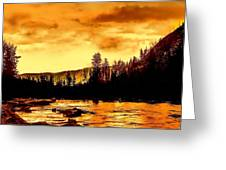 Sunset At  Yellowstone Lake Greeting Card