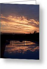 Sunset Over A Pool Greeting Card
