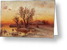 Sunset Over A Ukrainian Hamlet Greeting Card