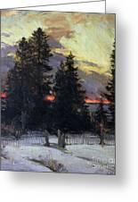 Sunset Over A Winter Landscape Greeting Card by Abram Efimovich Arkhipov