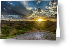 Sunset Over Badlands Np Yellow Mounds Overlook Greeting Card