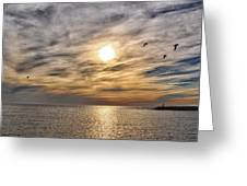 Sunset Over Bay Greeting Card