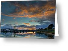 Sunset Over Boat Ramp At Anacortes Marina Greeting Card