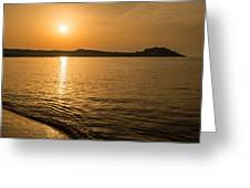 Sunset Over Calvi In Balagne Region Of Corsica Greeting Card