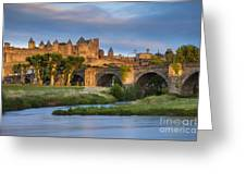 Sunset Over Carcassonne Greeting Card