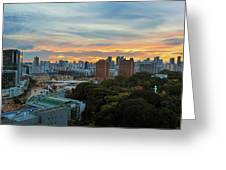Sunset Over Clarke Quay And Fort Canning Park Greeting Card