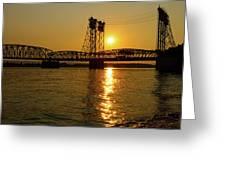 Sunset Over Columbia Crossing I-5 Bridge Greeting Card
