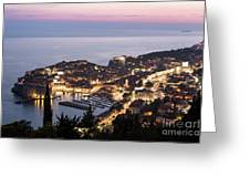Sunset Over Dubrovnik In Croatia Greeting Card