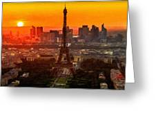 Sunset Over Eiffel Tower Greeting Card